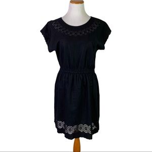 J. Crew Black Eyelet Embroidered Linen Dress 6